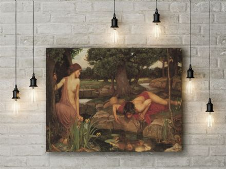 John William Waterhouse: Echo and Narcissus. Fine Art Canvas.